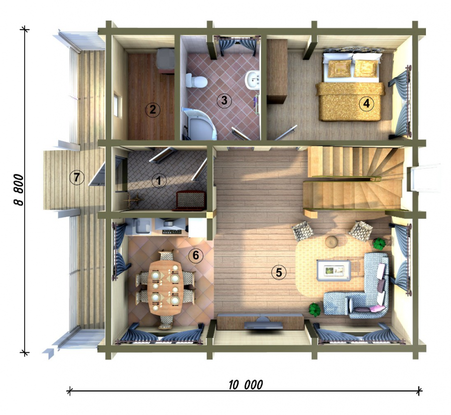 Дома из бруса планировка фото