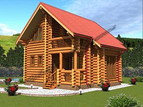 деревенский дом из бревна